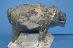 Rare 19th Century African Pottery Fetish Pig,applied Human/animal Hair,c1890