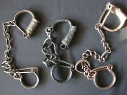 Rare 3 X Shackles Lot Chain Medieval Antique Handcuffs Police Military