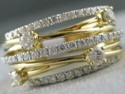 Modern Pave Stud Diamond 18k Wy Gold Multi Row Band Crossover Ring 10m R017506kp