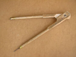 Old Antique Primitive Wooden Wood Compasses School Teacher Tool 19i Middle 20th