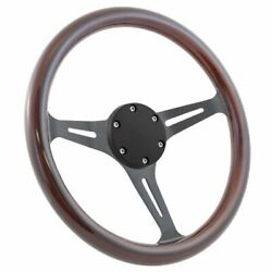 14 Black Golf Steering Wheel With Dark Wood Grip And Horn Cover Plate - 6-hole