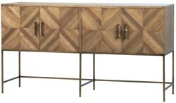 65 L Fabiola Sideboard Modern Bronzed Metal Base Recycled Wood Cabinetry