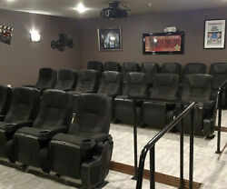 Row Of 5 New Movie Cinema Seating Rocking Rocker Chairs Home Theater Seats Black