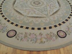 Gorgeous 10x10 Round French Aubusson Area Rug Green Beige Purple Pink Yellow