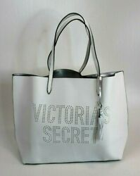 Victorias Secret White Faux Leather Laser Cutout Tote Large Bag Getaway Carry-on