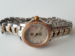2-toned Tag Heuer Link Ladies Watch W/diamond Bezel And Dial