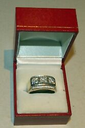 Menand039s Large Diamond And 14k W/g Band Ring 41 Diamonds 2 Ct-12.3 Grams-size11.25