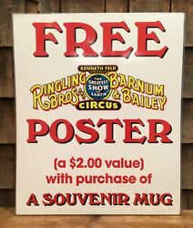 Rare Vintage Ringling Bros And Barnum And Bailey Circus Poster Advertising Sign