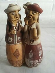 Vintage Clay Pottery Peru Folk Art Party Announcers Handmade Flute Whistle