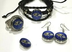Baltimore Ravens Nfl Snap Jewelry Snap, Stretch Ring, Earrings Or Bracelet