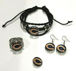 Chicago Bears Nfl Snap Jewelry Snap, Stretch Ring, Earrings Or Bracelet