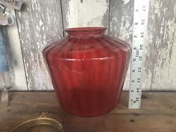 Victorian Antique Cranberry Hanging Oil Lamp Parts Glass Wave Shade Brass Parts
