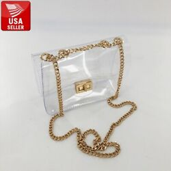 Beautiful Transparent PVC Clear Shoulder bag Clutch Purse with Gold Chain $9.99