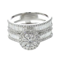 Bridal Wedding Round Baguette Diamond Ring With Band 14k White Gold For Women