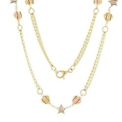 Italian 14k Tri Color Gold Double Rolo Chain With Star Heart Charm Necklace 24