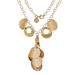 Italian 14k Yellow Gold Rolo Chain Round Charm Pendant Necklace 16 17 Grams
