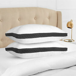 Gusseted Pillow Set of 2 Bed Pillows Neck Support Side amp; Back Sleepers Pillows