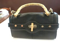Vintage Designer Handbag Bodhi Women's Black Leather Bamboo Accents Storage Bag
