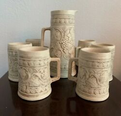 Complete Set Antique Weller Pottery Ivory Grape And Leaf Pitcher And Six Tankards