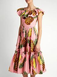 1995 Dolce And Gabbana Pineapple Pink Ruffled Off Shoulder Poplin Tiered Dress