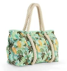 No Boundaries Green Palm Tropical Rope Tote Beach Bag Travel Carry On Purse NEW $14.95