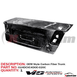 [ Vis Racing ] Oe Style Gloss Carbon Fiber Trunk Lid For 01-03 Honda Civic 4dr