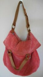 Lucky Brand Raspberry Suede Bucket Bag Purse Two styles of straps $39.99