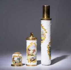 Rare Staffordshire Enamel Bodkin Case With Thimble And Perfume Flask, C. 1770