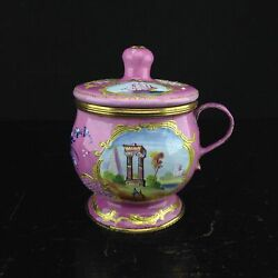 English Enamel Mustard Pot Pink Ground With Landscapes C.1770
