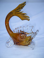 Authentic Venice Italy Handmade Murano Glass Fish Yellow/gold To Clear Large