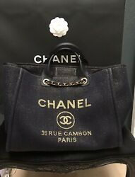 100% Auth Chanel Classic Deauville Large Metallic Navy Blue Denim Tote Bag 2019