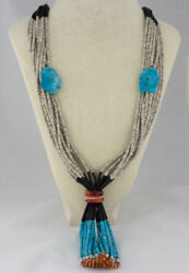 10-strand Multi-color Stone And Shell Heishi Necklace With Jaclas