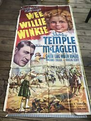 Rare Wee Willy Winkie Shirley Temple Movie Poster 77x37 Original Property Of