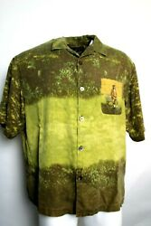 100 Silk Button Front Casual Button Down Dog Sitting On Bench Xl