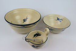 Handmade Pottery Vintage Nesting Mixing Bowls - Set Of 3 + Whisk - New