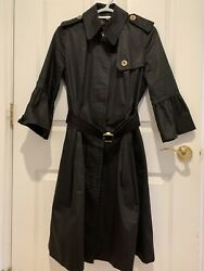 100 Authentic Womens Black Trench Coat With Bell Sleeves - Size Us 6