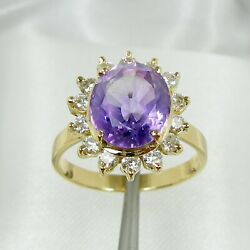 2.75ct Oval Amethyst And Diamonds Halo Claws Ring Genuine 750 18k 18ct Yellow Gold