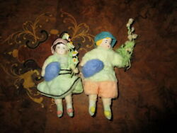 Lot 2 Vintage Cotton Figurine-easter Ornaments -tinsel Germany