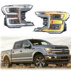Front Full LED Headlights Lamps For 17-UP Ford F150  w/ Sequential Turn signal