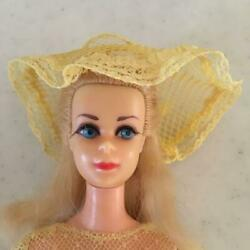 Barbie Doll Vintage Yellow Lace Dress Blonde Hair Cute Dress Up W/tracking