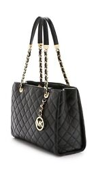 MICHAEL KORS HAMILTON Susannah Quilted Flap Black Gold Chain Shoulder Cross Bag $369.99