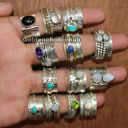 100 PCS Lot 925 Sterling Silver Band Spinner Ring Jewelry Handmade All Size O7
