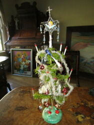 Antique Christmas Goose Feather Tree ,glass Items, Tinsel, Germany