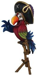 Comic Bird Parrot Pirate On Stand With Hat Animal Prop Life Size Resin Statue