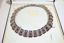 SAPPHIRE 27.85 CT  DIAMOND 8.10 CT IN 18KT WGOLD IMPORTANT NECKLACE221GR L=16