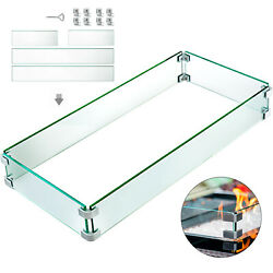 Outdoor Fire Pit Wind Guard Glass Flame Guard Fence 29.5 X 13.6 X 4 Rectangle