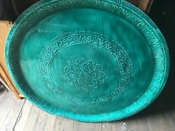 """Vtg Large Ornate Round Green Enamel Tray Wall Hanging Table Top 32 1/8"""" Mid Mcm"""