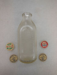 Vtg Glass Dairy Bottle And 4 Dairy Bottle Caps - Brownand039s Dairy Ca And Arden Farms Co