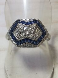 18ct.750. White Gold Deco Inspired. Sapphire And Diamond Ring. Size N. U.s. Size 7