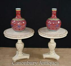 Pair Chinese Side Tables Hand Carved Bone Cocktail Table